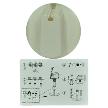 Knob Single- Universal Kit White, 55mm Skirt